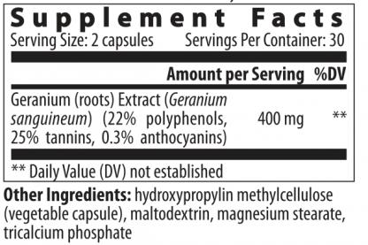 supplement facts geranium