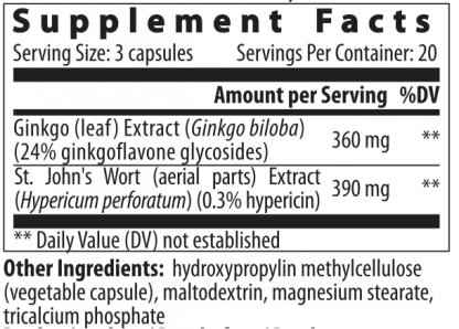 supplement facts ginkgo hypericum