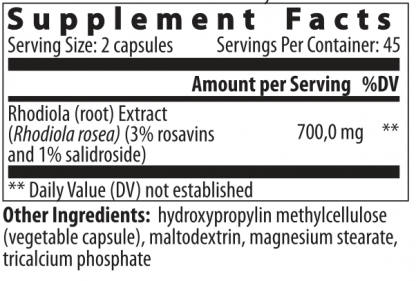 supplement facts rhodiola