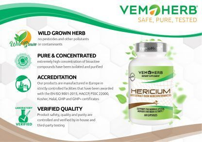 Safe Pure Tested: VemoHerb Hericium